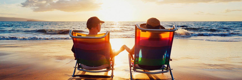 romantic sunset couple on beach